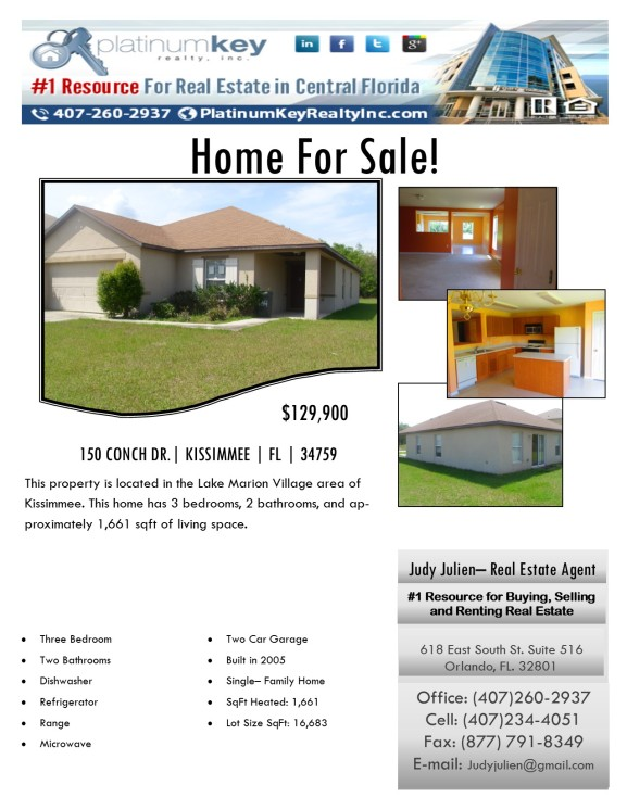 Flyer for 150 Conch Dr.